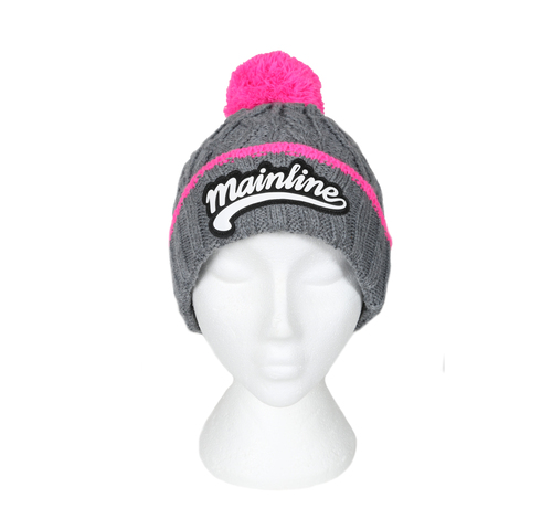 More information about Chunky Beanie - Grey/Pink With Embossed Logo