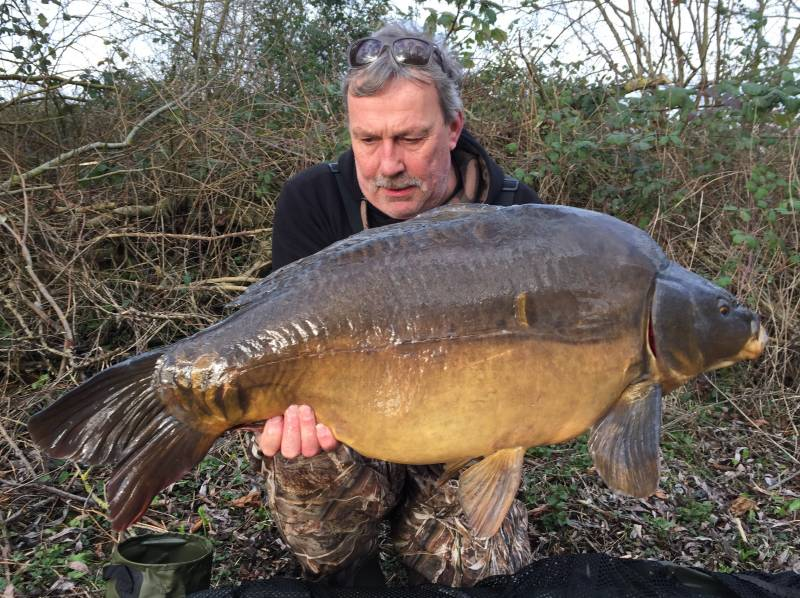 A recent 38lb mirror that despite the cold water temperatures came to a spread of boilies