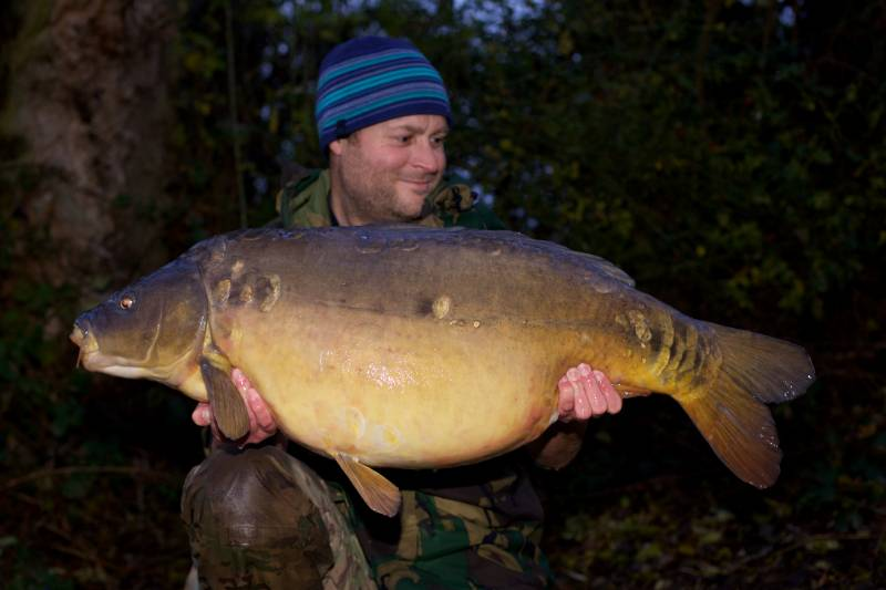 The largest of the three, a long 38lb 12oz mirror